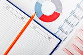 Diário, lápis e documentos financeiros com gráficos — Foto Stock
