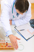 Medical doctor spreading hand for handshake. Top view — Stock Photo