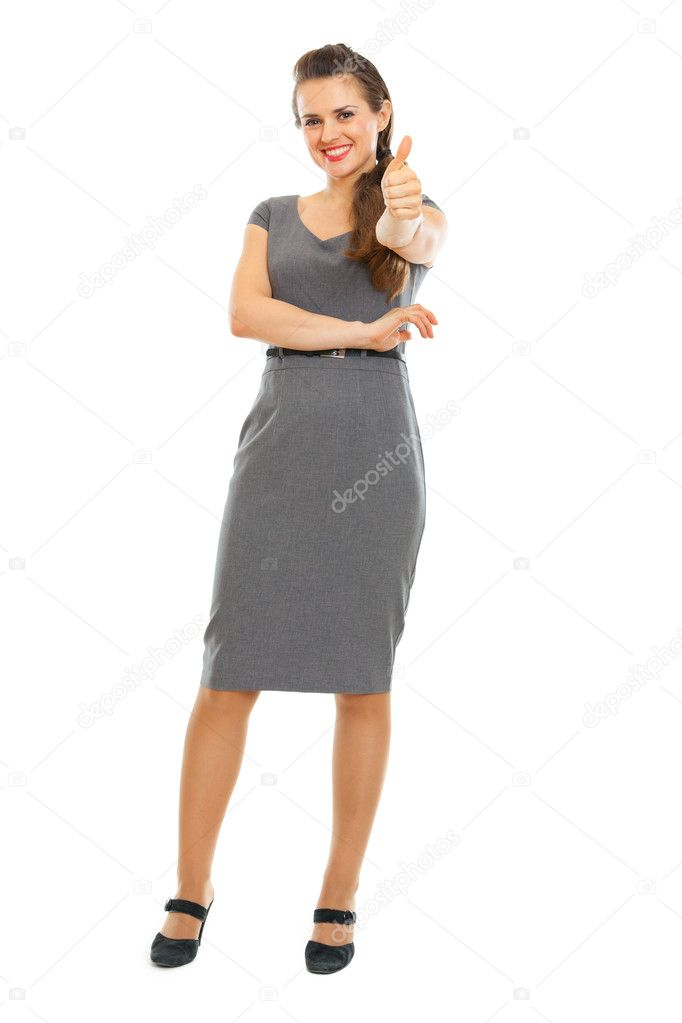 Full length portrait of business woman showing thumbs up — Stock ...