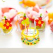 Closeup on table decorated for child birthday celebration — Stock Photo