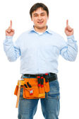 Construction worker pointing up — Stock Photo