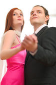 Formally dressed dancing couple — Foto de Stock