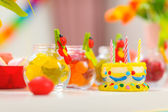 Closeup on table decorated for baby birthday party — Stock Photo