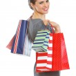 Smiling elegant woman with shopping bags — Stock Photo #9831950