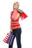Donna anziana sorridente con borse della spesa — Foto Stock