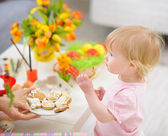 Baby eating Easter cookies — Stock Photo