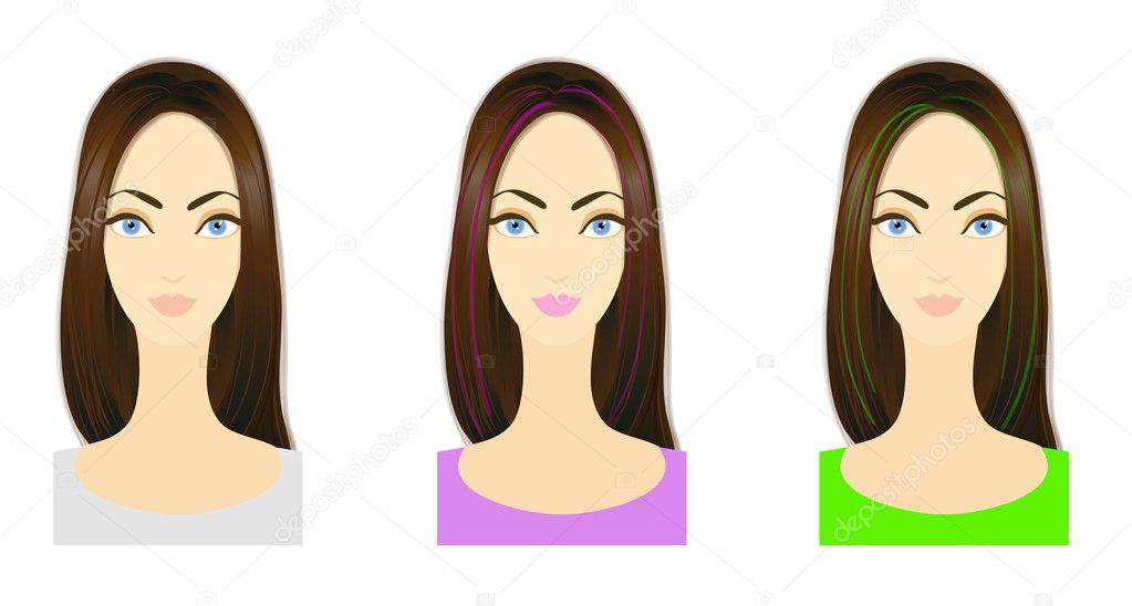 Set of three variants of hairstyle with bright colored locks. Eps 10 vector. Performed with Adobe Illustrator's standard Bristle Brush — Stock Photo #10718177