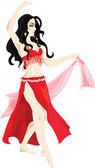 Beautiful woman in red performs belly dance — Stock Vector