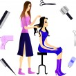 Hairdresser and her client. Eps 10 — Stock Vector