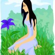 Beautiful girl sitting among grass and looking at the blue flowe - Stock Vector