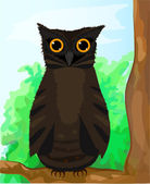 Funny brown owlet sitting on a branch. Eps 10 — Stock Vector