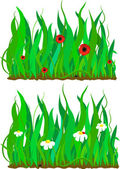 Grass and flower pattern set. Eps 10 — Stock Vector