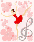 Graceful ballerina in red. Eps 10 — Stock Vector