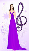 Beautiful opera singer on musical background. Eps 10 — Stock Vector