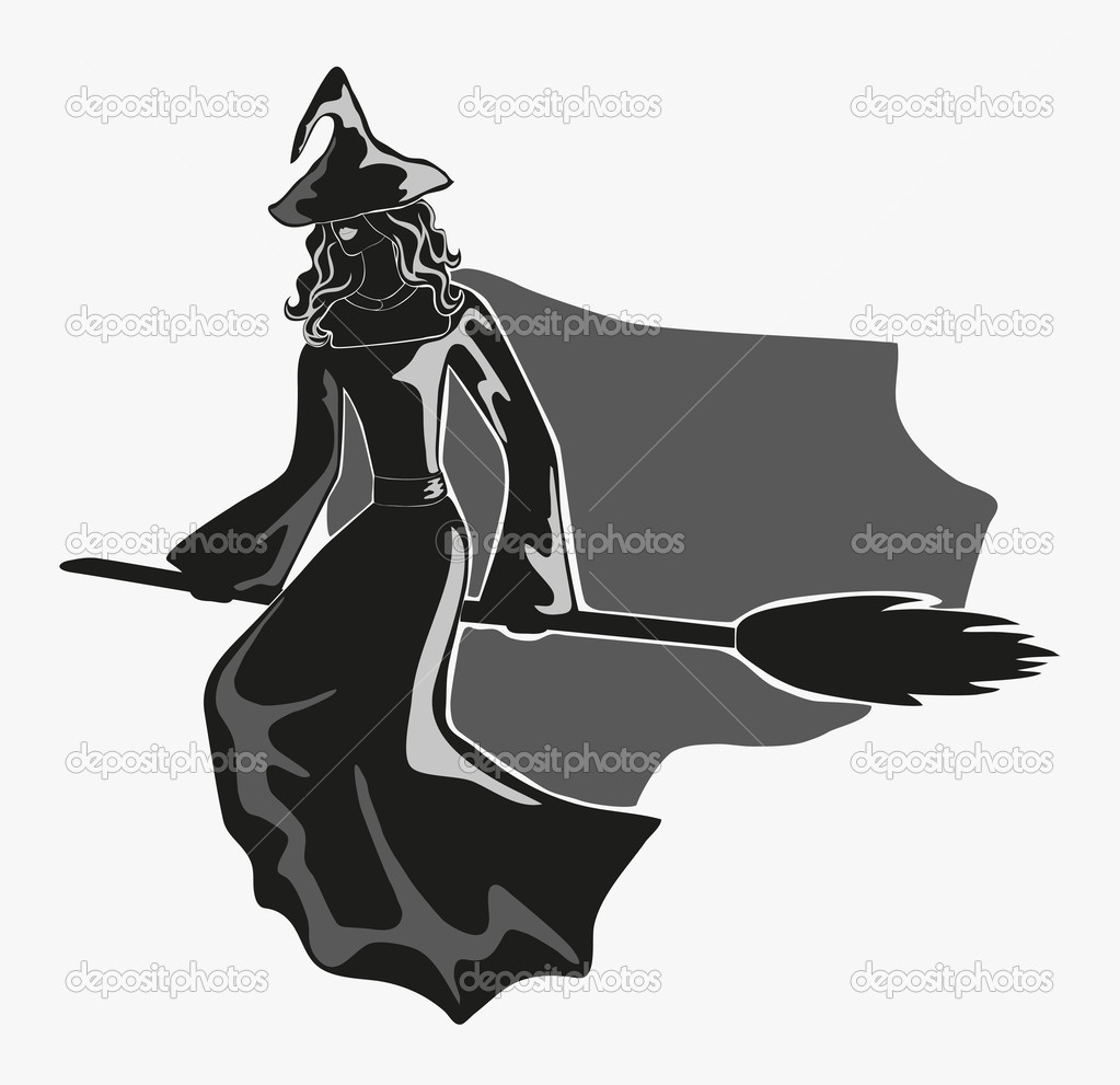 Monochrome contrast figure of witch in pointed hat on broom. Eps 10 — Stock Vector #9902387