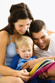Family reading. — Stok fotoğraf