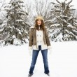 Pretty woman in snow. — Stock Photo #9215817