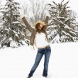 Woman posing in snow. — Stock Photo