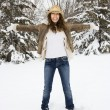 Woman in snow. — Stock Photo