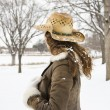 Woman in snow. — Stockfoto