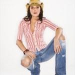 Pretty woman in hat. — Stock Photo #9216967