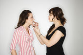 Makeup artist with woman. — Stock Photo
