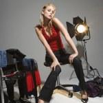 Woman on studio set. — Stock Photo