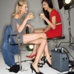 Women drinking wine. — Stock Photo
