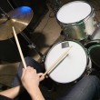 Drummer playing drumset. - Stock Photo