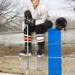 Hockey player boy. - Foto Stock