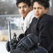 Boys in hockey uniforms. — Stock Photo