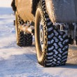 Truck on icy road. - Stock Photo