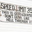 Stock Photo: Funny speed limit sign.