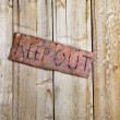 Sign on Old Door - Stock Photo
