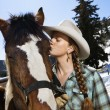 Attractive Young Woman Kissing Horse — Stock Photo