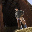 Attractive Young Man Standing on a Bale of Hay — Stock Photo #9225944