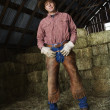 Stock Photo: Man in a Barn Wearing a Cowboy Hat