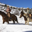 Stock Photo: Mand WomRiding Horses in Snow