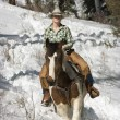 Attractive Young Woman Riding a Horse the Snow — Stock Photo