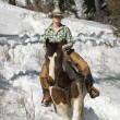 Attractive Young Woman Riding a Horse the Snow — Stockfoto