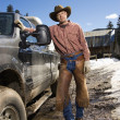 Stock Photo: Man Wearing Cowboy Hat Standing Beside Truck