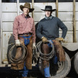 Two Men Wearing Cowboy Hats Holding Lariats — Stock Photo #9226059
