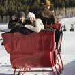 Couple on sleigh ride. — Stock Photo