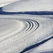 Foto Stock: Vehicle tracks in snow.