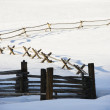 Winter fence. — Stock Photo