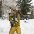Man with ski gear. — Stock Photo