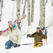 Couple on ski vacation. — Stock Photo