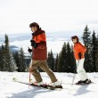 Couple Skiing on Mountain Slope - Foto de Stock