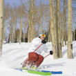 Foto Stock: Downhill Skier Making Turn
