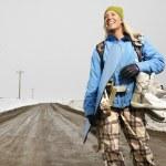 Woman going snowboarding. — Stock Photo